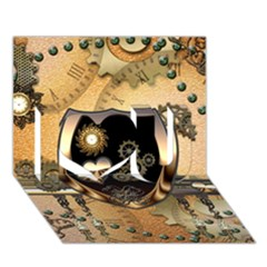 Steampunk, Shield With Hearts I Love You 3D Greeting Card (7x5)