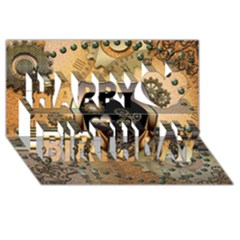 Steampunk, Shield With Hearts Happy Birthday 3d Greeting Card (8x4)
