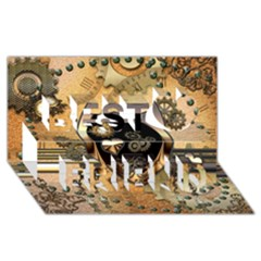 Steampunk, Shield With Hearts Best Friends 3d Greeting Card (8x4)