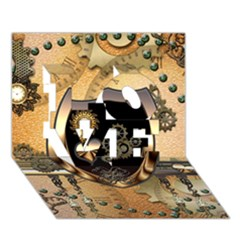 Steampunk, Shield With Hearts LOVE 3D Greeting Card (7x5)