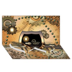 Steampunk, Shield With Hearts Twin Heart Bottom 3d Greeting Card (8x4)