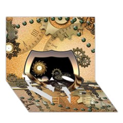 Steampunk, Shield With Hearts LOVE Bottom 3D Greeting Card (7x5)