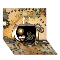 Steampunk, Shield With Hearts Apple 3D Greeting Card (7x5)