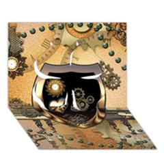 Steampunk, Shield With Hearts Clover 3d Greeting Card (7x5)