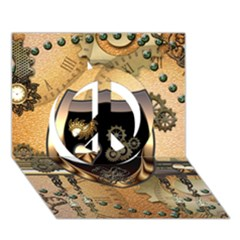Steampunk, Shield With Hearts Peace Sign 3d Greeting Card (7x5)