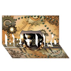 Steampunk, Shield With Hearts BEST BRO 3D Greeting Card (8x4)
