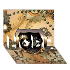 Steampunk, Shield With Hearts HOPE 3D Greeting Card (7x5)