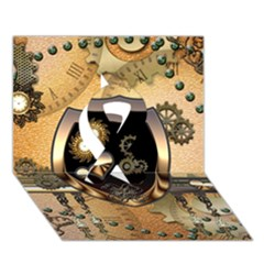 Steampunk, Shield With Hearts Ribbon 3d Greeting Card (7x5)