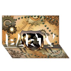Steampunk, Shield With Hearts PARTY 3D Greeting Card (8x4)