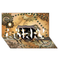 Steampunk, Shield With Hearts SORRY 3D Greeting Card (8x4)