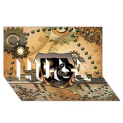 Steampunk, Shield With Hearts HUGS 3D Greeting Card (8x4)