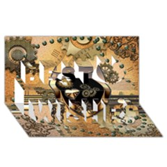 Steampunk, Shield With Hearts Best Wish 3D Greeting Card (8x4)