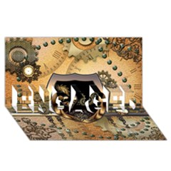 Steampunk, Shield With Hearts ENGAGED 3D Greeting Card (8x4)