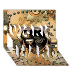 Steampunk, Shield With Hearts WORK HARD 3D Greeting Card (7x5)