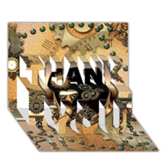 Steampunk, Shield With Hearts Thank You 3d Greeting Card (7x5)