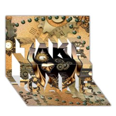Steampunk, Shield With Hearts TAKE CARE 3D Greeting Card (7x5)