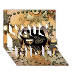 Steampunk, Shield With Hearts You Did It 3D Greeting Card (7x5)