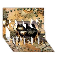 Steampunk, Shield With Hearts Get Well 3D Greeting Card (7x5)