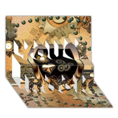 Steampunk, Shield With Hearts You Rock 3D Greeting Card (7x5)