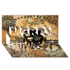 Steampunk, Shield With Hearts Merry Xmas 3d Greeting Card (8x4)