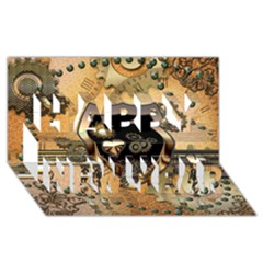 Steampunk, Shield With Hearts Happy New Year 3d Greeting Card (8x4)