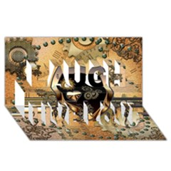 Steampunk, Shield With Hearts Laugh Live Love 3d Greeting Card (8x4)