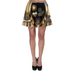 Steampunk, Shield With Hearts Skater Skirts
