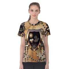 Steampunk, Shield With Hearts Women s Cotton Tees
