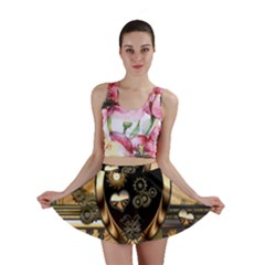 Steampunk, Shield With Hearts Mini Skirts