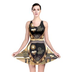 Steampunk, Shield With Hearts Reversible Skater Dresses