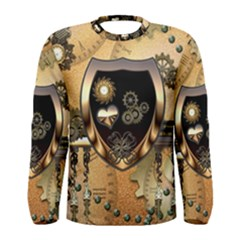 Steampunk, Shield With Hearts Men s Long Sleeve T-shirts