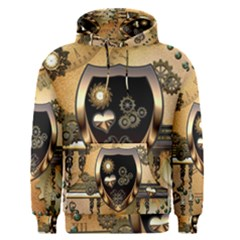 Steampunk, Shield With Hearts Men s Pullover Hoodies