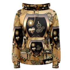 Steampunk, Shield With Hearts Women s Pullover Hoodies