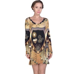 Steampunk, Shield With Hearts Long Sleeve Nightdresses