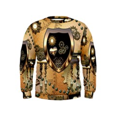 Steampunk, Shield With Hearts Boys  Sweatshirts