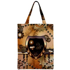 Steampunk, Shield With Hearts Zipper Classic Tote Bags