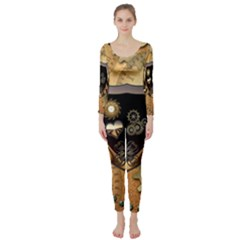 Steampunk, Shield With Hearts Long Sleeve Catsuit