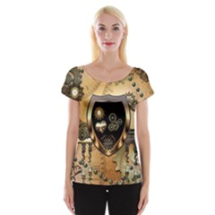 Steampunk, Shield With Hearts Women s Cap Sleeve Top