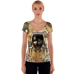 Steampunk, Shield With Hearts Women s V-Neck Cap Sleeve Top