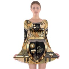 Steampunk, Shield With Hearts Long Sleeve Skater Dress