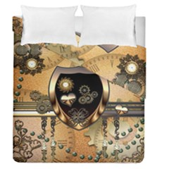 Steampunk, Shield With Hearts Duvet Cover (full/queen Size)