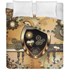 Steampunk, Shield With Hearts Duvet Cover (double Size)