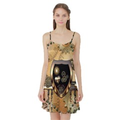 Steampunk, Shield With Hearts Satin Night Slip