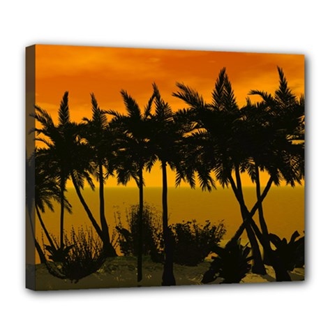 Sunset Over The Beach Deluxe Canvas 24  x 20