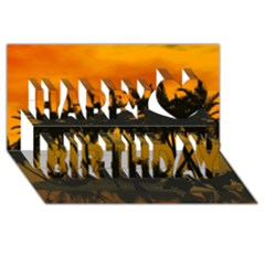 Sunset Over The Beach Happy Birthday 3D Greeting Card (8x4)