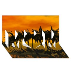Sunset Over The Beach Mom 3d Greeting Card (8x4)