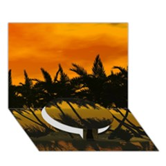 Sunset Over The Beach Circle Bottom 3d Greeting Card (7x5)