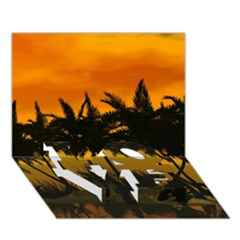 Sunset Over The Beach LOVE Bottom 3D Greeting Card (7x5)