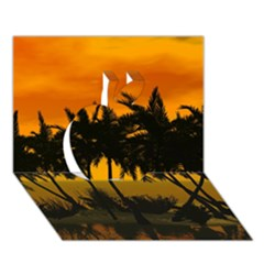 Sunset Over The Beach Apple 3D Greeting Card (7x5)