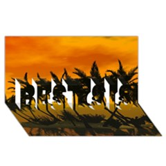 Sunset Over The Beach BEST SIS 3D Greeting Card (8x4)